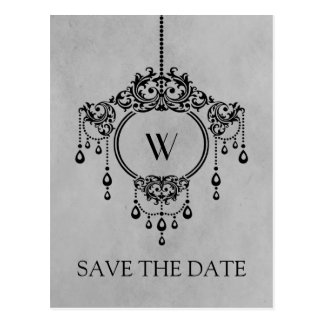 Gray Vintage Chandelier Save the Date Postcard