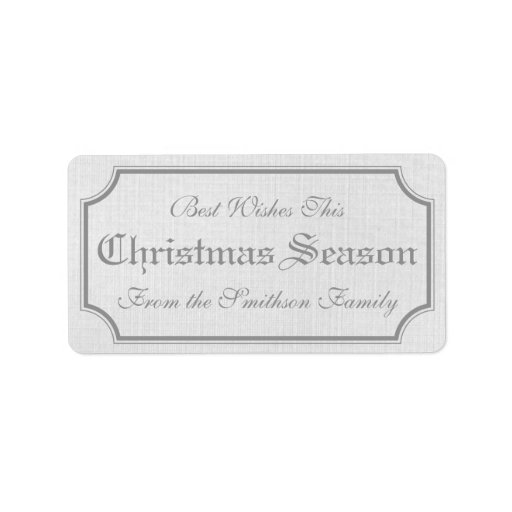 Gray Vintage Christmas Gift Label Stickers Address Label