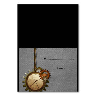 Gray Vintage Clock Wedding Place Card v2 Table Cards