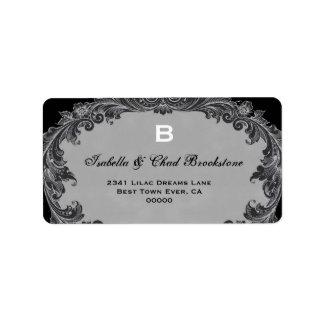 Gray Vintage Curlicue Wedding Monogram G460 Label