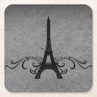 Gray Vintage French Flourish Paper Coaster