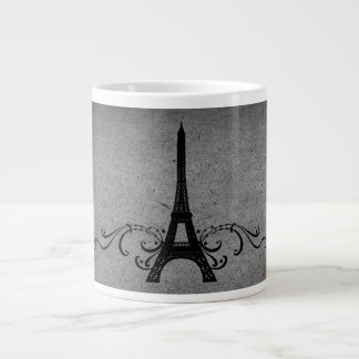 Gray Vintage French Flourish Extra Large Mugs