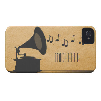 Gray Vintage Gramophone BT iPhone 4 Case