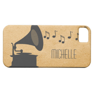 Gray Vintage Gramophone BT iPhone 5 Case
