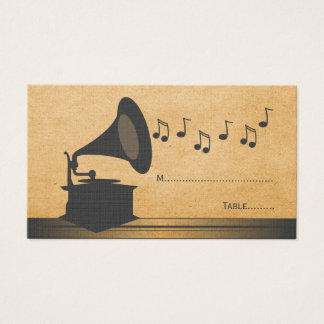 Gray Vintage Gramophone Place Card