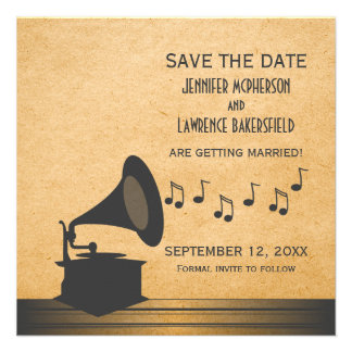 Gray Vintage Gramophone Save the Date Invite