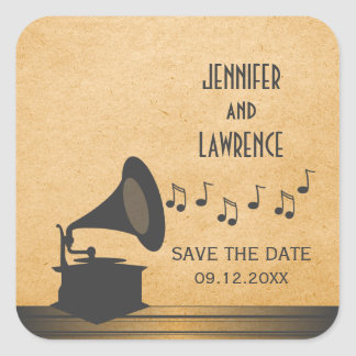 Gray Vintage Gramophone Save the Date Stickers