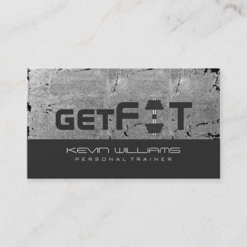Gray Vintage Grunge Texture Fitness Trainer Business Card