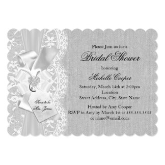 Gray Vintage Lace & Burlap Bridal Shower Invite