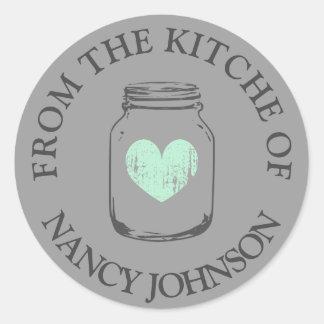 Gray vintage mason jar From the kitchen of sticker