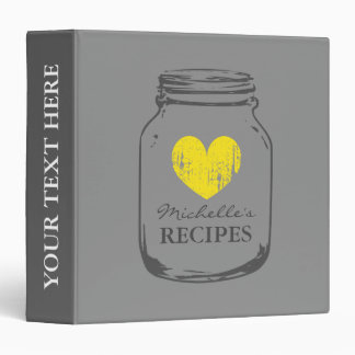 Gray vintage mason jar kitchen recipe binder book