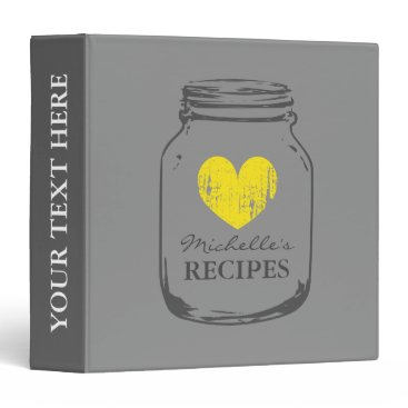 Valentines Themed Gray vintage mason jar kitchen recipe binder book