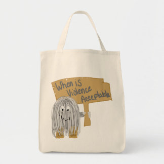Gray Violence not acceptable Tote Bag