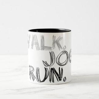 GRAY WALK JOG RUN (font SCRIBBLE) Two-Tone Coffee Mug