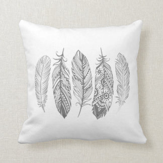 Gray Watercolor Feather Tribal Print Pillow