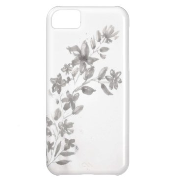 Gray watercolor Flower Case For iPhone 5C