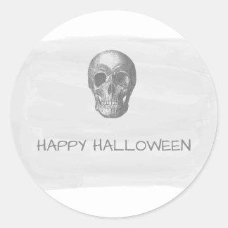 Gray Watercolor Skull Halloween Stickers