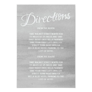 Gray Watercolor Wedding Directions Info Card