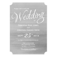 Gray Watercolor Wedding Invitation