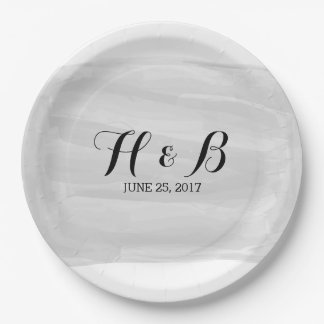 Gray Watercolor Wedding Paper Plates 9 Inch Paper Plate