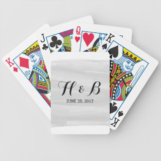 Gray Watercolor Wedding Playing Cards
