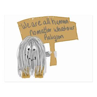 Gray we are all human postcard