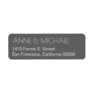 gray wedding address label with couple names