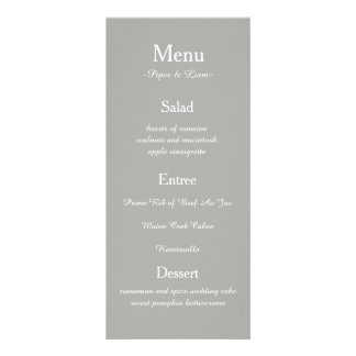 Gray Wedding Menu