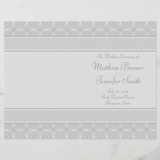 Gray Wedding Order Of Service And Ceremony Program Zazzle Com