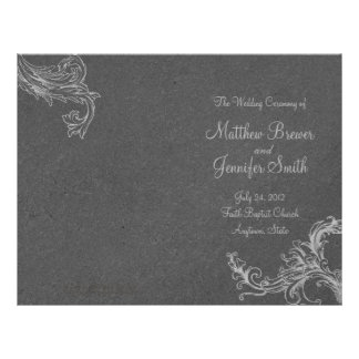 Gray Wedding Order of Service and Ceremony Program Flyer