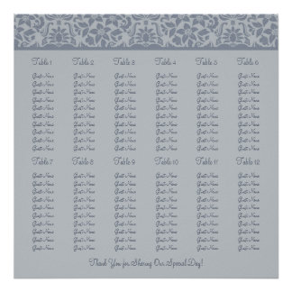 Gray Wedding Reception Seating Chart - Square Poster