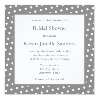 "Gray Wedding Shower Invitations or Announcements 5.25"" Square Invitation Card"