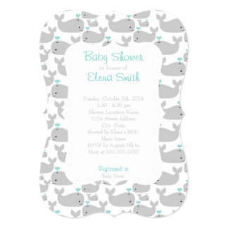 Gray Whale Baby Shower 5x7 Paper Invitation Card