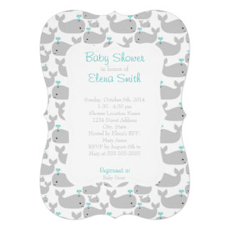 Gray Whale Baby Shower Custom Announcements