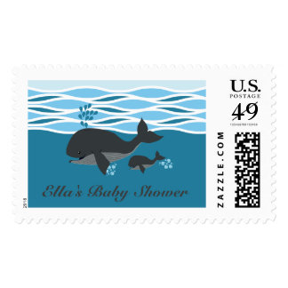 Gray Whale Baby Shower Stamp, grey Postage