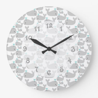 Gray Whale Nursery Large Clock