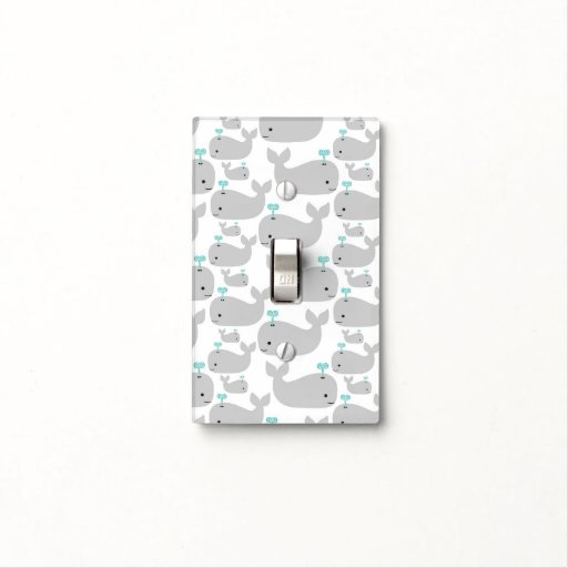 Gray Whale Nursery Print Light Switch Cover