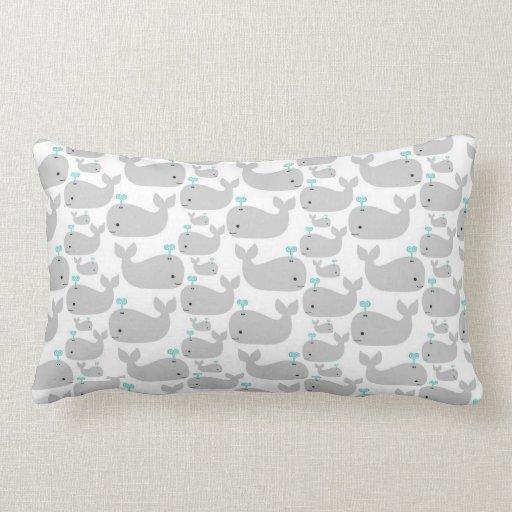 Gray Whale Nursery Print Throw Pillows
