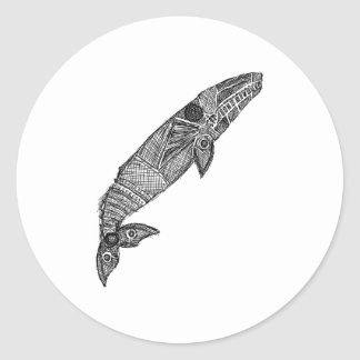 Gray Whale Sketch Classic Round Sticker