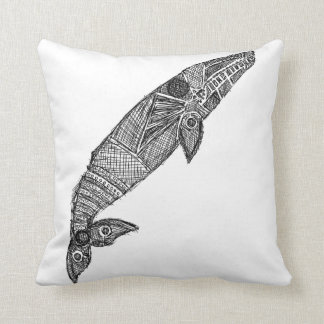 Gray Whale Sketch Throw Pillow
