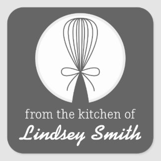 Gray Whisk Silhouette Kitchen Labels Square Sticker