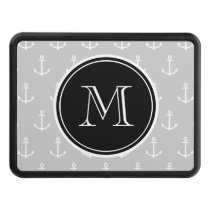Gray White Anchors Pattern, Black Monogram Tow Hitch Cover