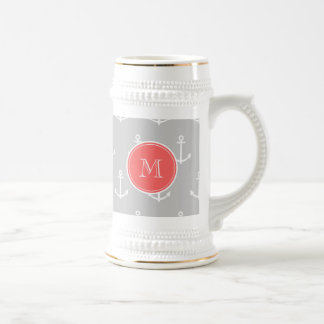 Gray White Anchors Pattern, Coral Monogram Beer Stein