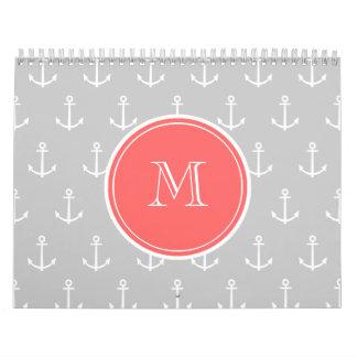 Gray White Anchors Pattern, Coral Monogram Calendar