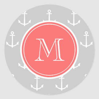 Gray White Anchors Pattern, Coral Monogram Classic Round Sticker