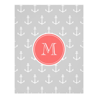 Gray White Anchors Pattern, Coral Monogram Full Color Flyer