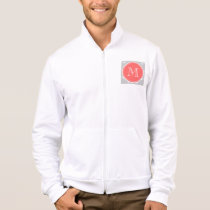 Gray White Anchors Pattern, Coral Monogram Jacket