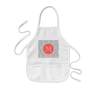 Gray White Anchors Pattern, Coral Monogram Kids' Apron