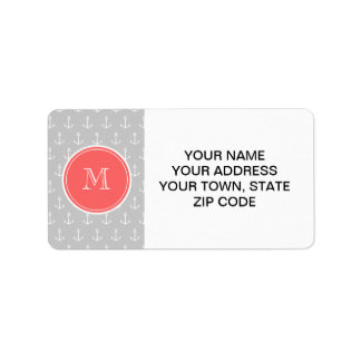 Gray White Anchors Pattern, Coral Monogram Custom Address Label