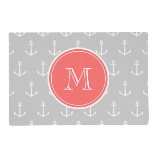 Gray White Anchors Pattern, Coral Monogram Laminated Place Mat